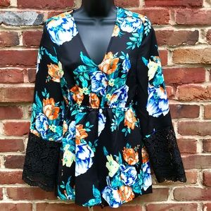 MINKPINK Floral Playsuit Crochet Sleeved Romper